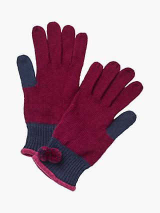 White Stuff Pippa Colour Block Gloves, Floral Plum