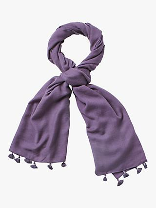 White Stuff Fine Wool Sateen Scarf, Marina Blue