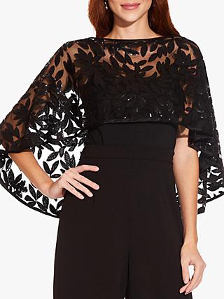 Adrianna Papell Embroidered Cover-Up Wrap, Black