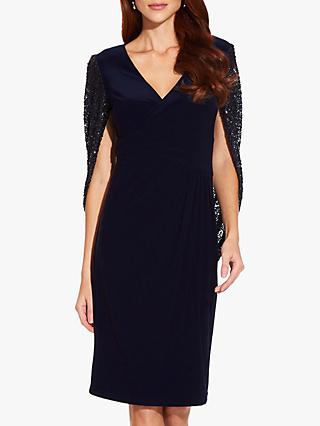 Adrianna Papell Draped Jersey Dress, Midnight
