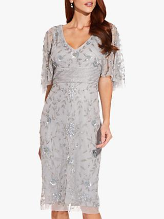 Adrianna Papell Beaded Cape Sleeve Dress, Silvermist