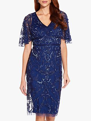 Adrianna Papell Beaded Short Cocktail Dress, Night Flight