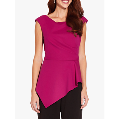 Product photo of Adrianna papell knit crepe peplum top magenta