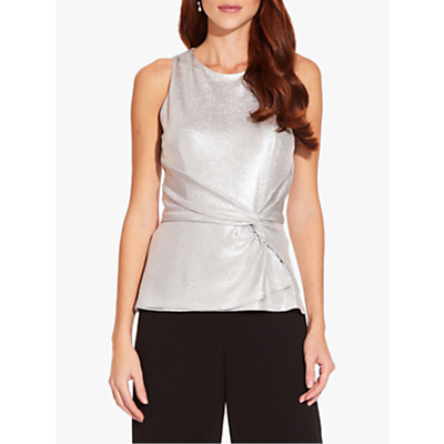 Product photo of Adrianna papell foil jersey top silver