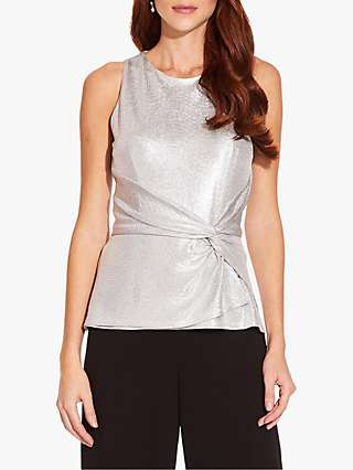 Adrianna Papell Foil Jersey Top, Silver