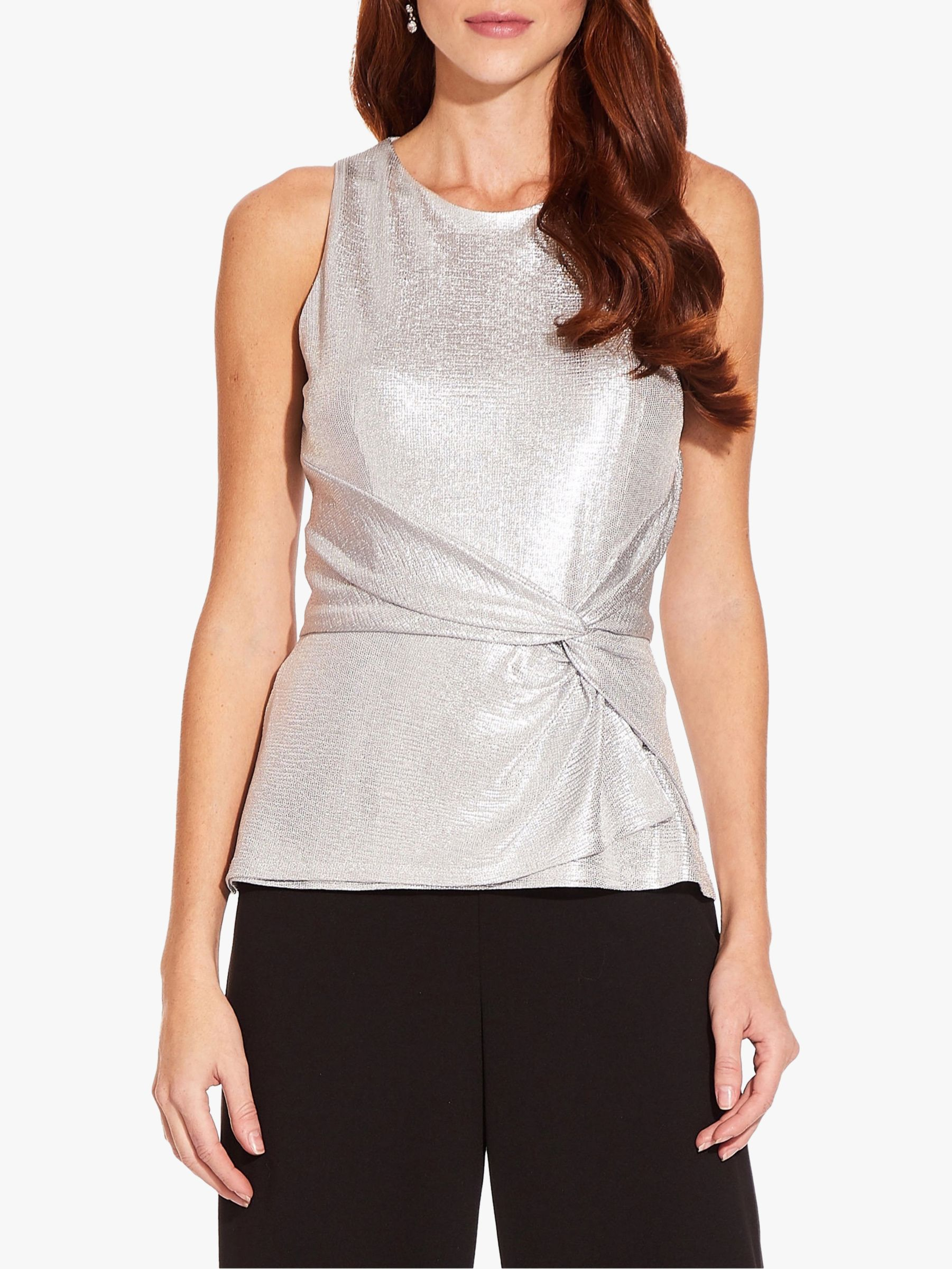 Adrianna Papell Adrianna Papell Foil Jersey Top, Silver