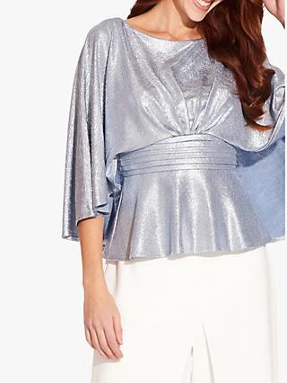 Adrianna Papell Cape Sleeve Foil Jersey Top, Silver Blue Lake