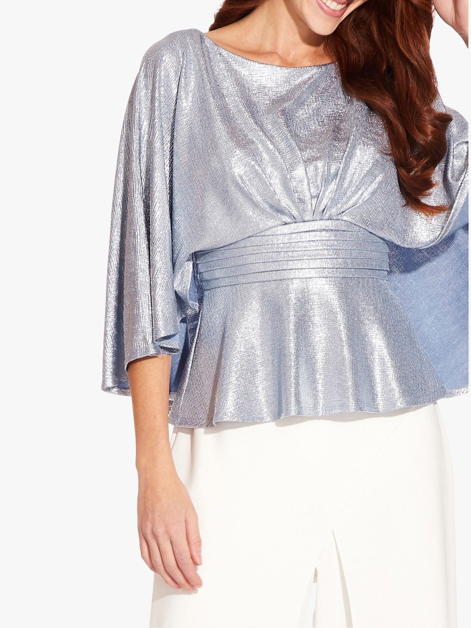 Adrianna Papell Adrianna Papell Cape Sleeve Foil Jersey Top, Silver Blue Lake