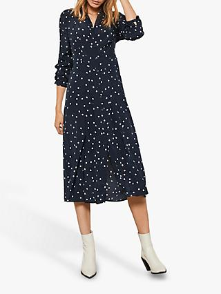 Mint Velvet Spotted Midi Dress, Navy