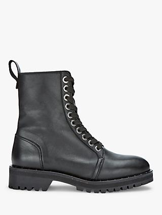 Mint Velvet Debbie Leather Biker Boots, Black