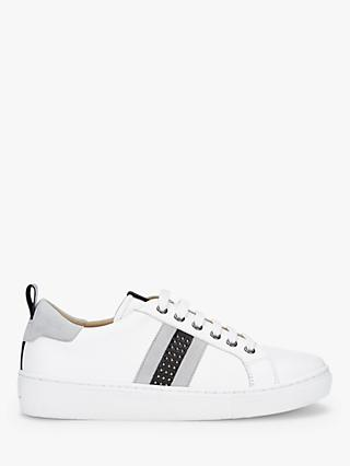 Mint Velvet Allie Stud Lace Up Leather Trainers, White