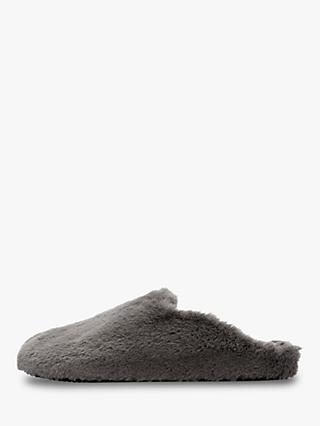 Hygge by Mint Velvet Faux Fur Slippers, Dark Grey