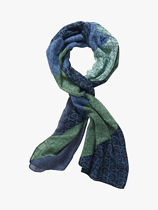 Betty & Co Clover Print Scarf, Blue/Green