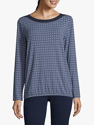 Betty & Co. Printed Top, Blue/Cream