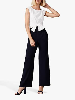 Phase Eight Janey Knot Front Jumpsuit, Ivory/Navy