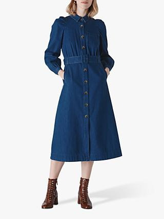 Whistles Denim Belted Midi Dress, Blue Denim