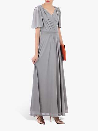 Jolie Moi Mesh Flute Sleeve Maxi Dress