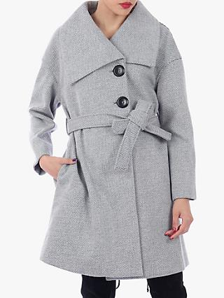 Jolie Moi Wrap Front Coat, Black/White