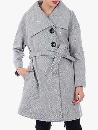 Jolie Moi Wrap Front Coat, Black/White