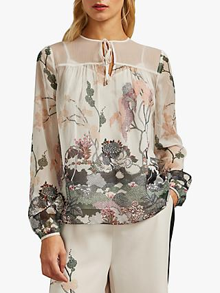 Ted Baker Veriity Willow Gathered Tie Neck Top, Natural Ivory