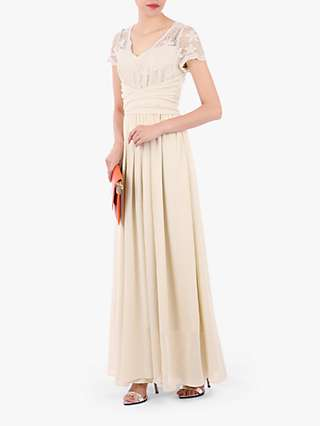 Jolie Moi Short Sleeve Lace Maxi Dress