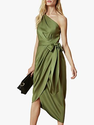 Ted Baker Gabie Tie Waist One Shoulder Dress, Khaki