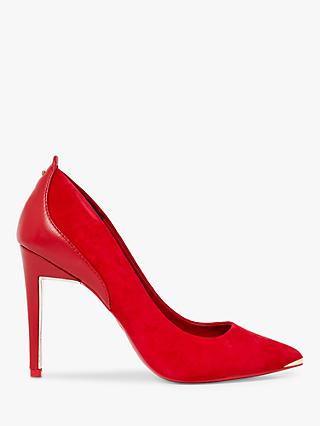 Ted Baker Stephs Suede Stiletto Heel Court Shoes, Red