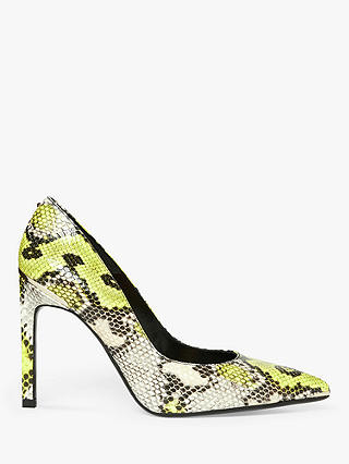 Buy Ted Baker Melliss Embossed Snake Effect Leather Court Shoes, Yellow, 4 Online at johnlewis.com
