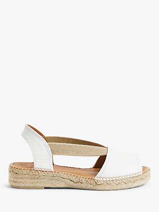 John Lewis & Partners Kalley Leather Espadrille Sandals, White