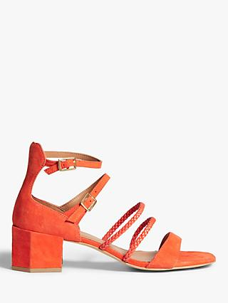 AND/OR Josie Suede Multi Strap Hexagonal Heel Sandals, Orange