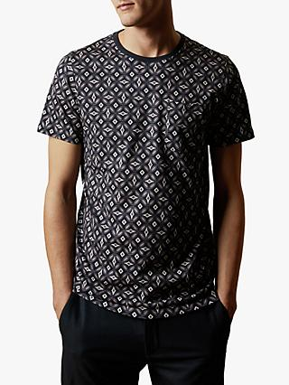 Ted Baker Landed Geometric Print Cotton T-Shirt, Navy