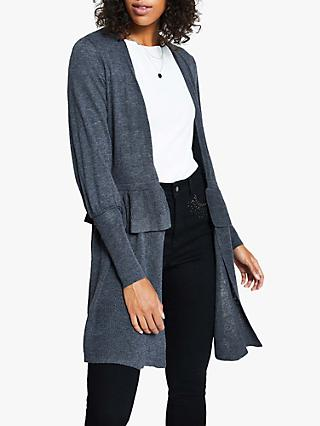 Harpenne Ruffle Long Line Cardigan, Grey