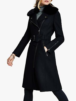 Harpenne Belted Wool Coat, Black