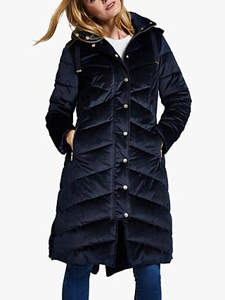 Harpenne Velvet Quilted Coat, Navy