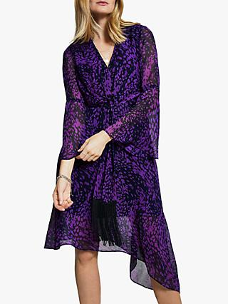 Harpenne Tie Front Midi Dress, Purple