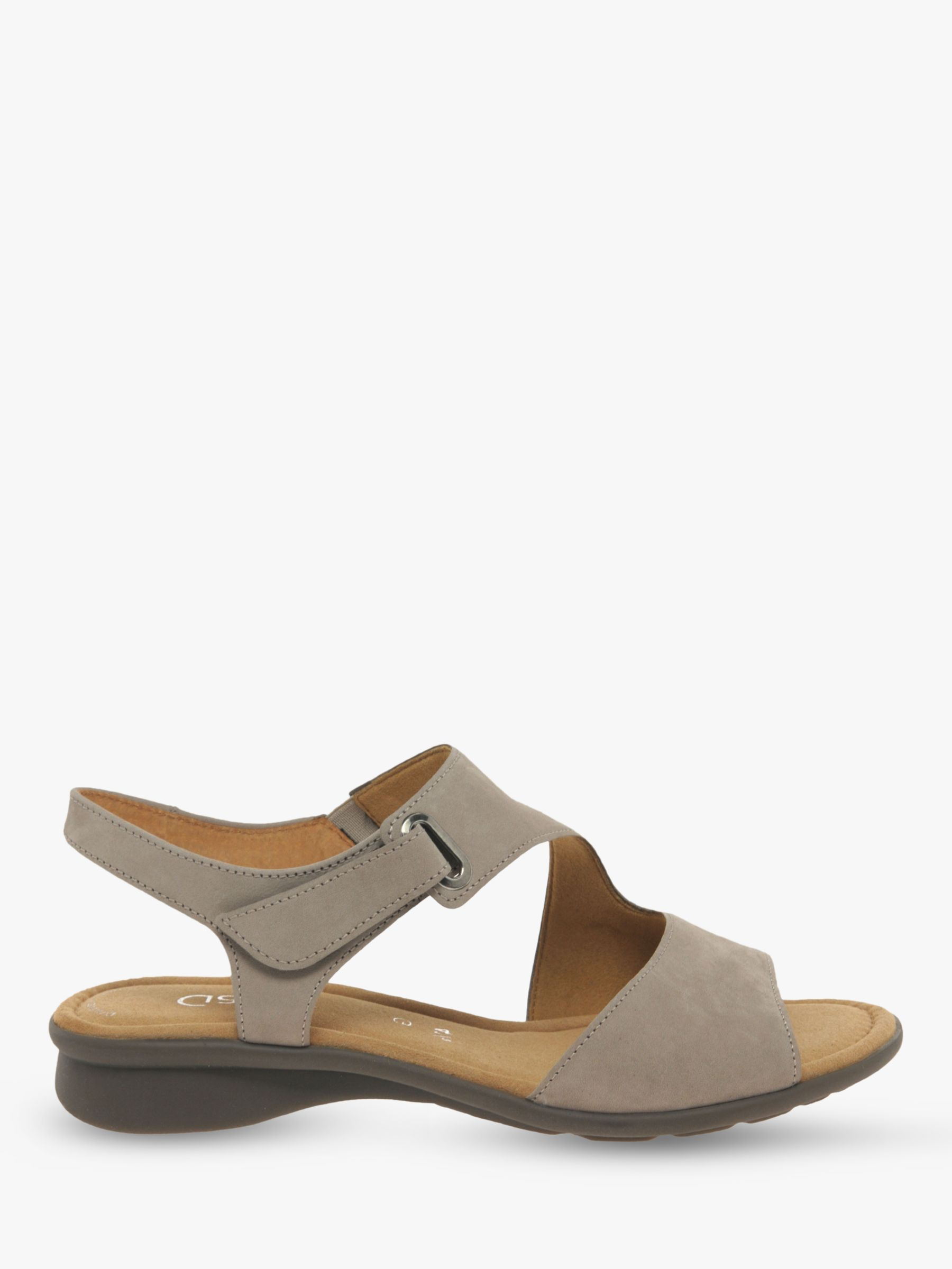 Gabor Gabor Mostic Wide Fit Nubuck Sandals, Grey