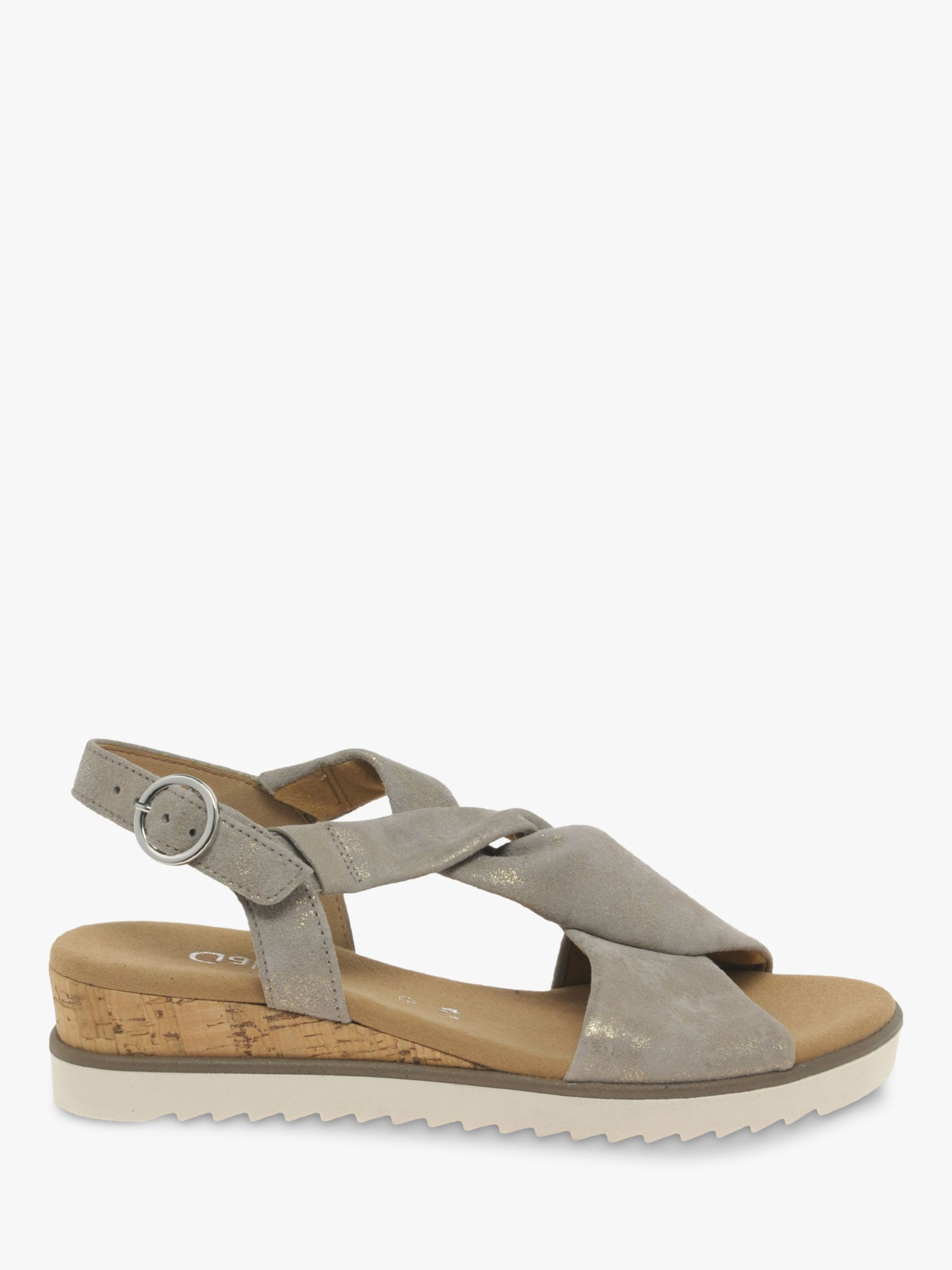 Gabor Gabor Rich Wide Fit Leather Wedge Heel Sandals, Metallic