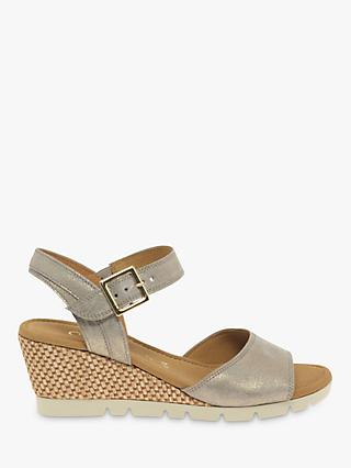 Gabor Nieve Wide Fit Leather Wedge Heel Sandals
