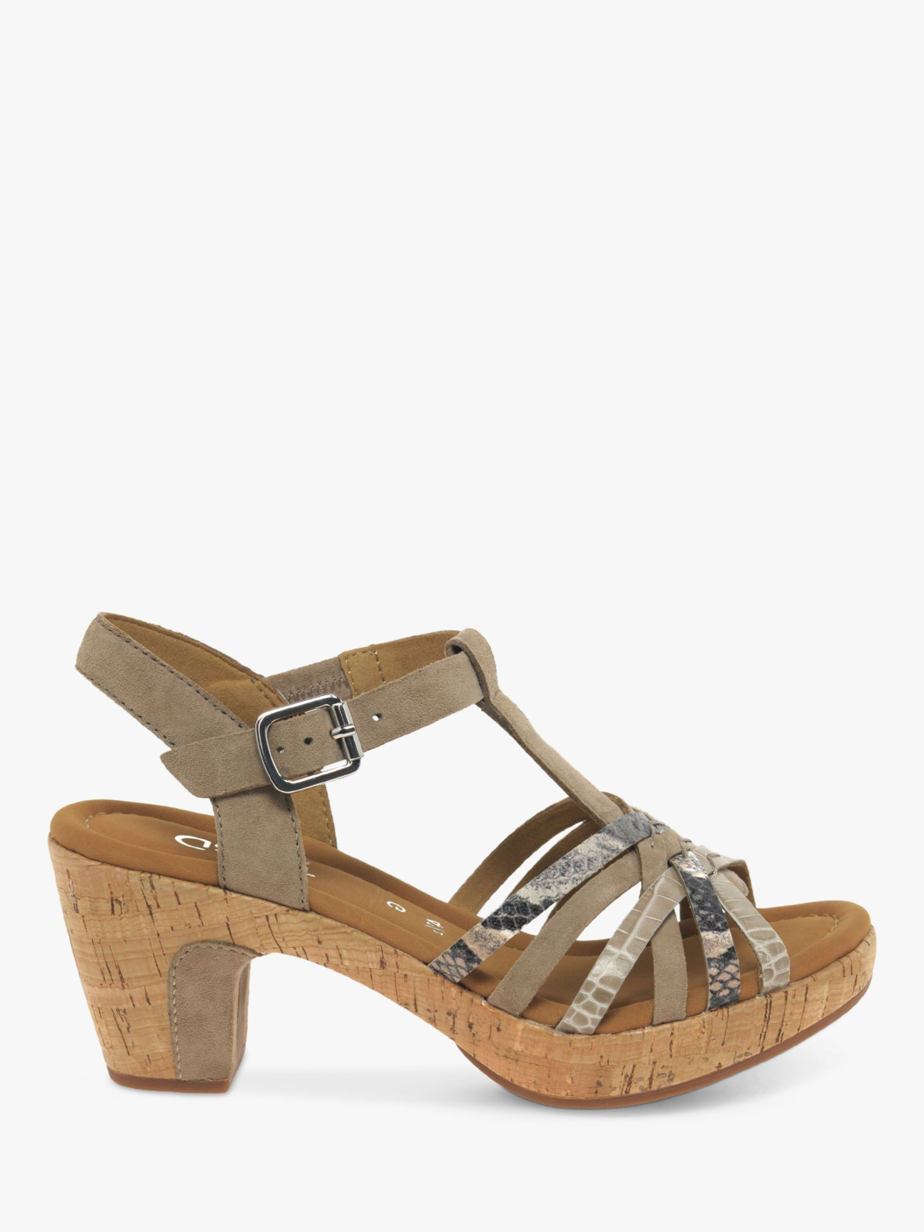 Gabor Gabor Cheri Leather Wide Fit Ankle Strap Sandals, Snake/Beige