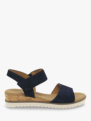 Gabor Raynor Suede Wide Fit Sandals, Bluette