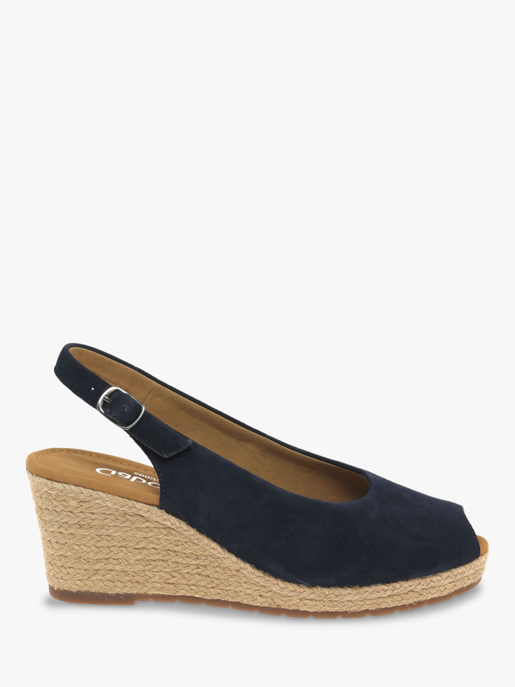 Gabor Gabor Tandy Suede Wide Slingback Sandals, Navy