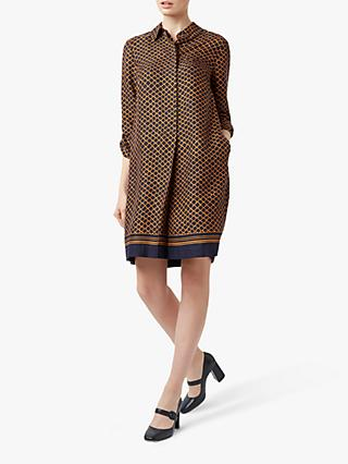Hobbs Marci Shirt Dress, Navy/Orange