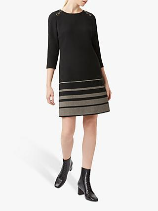 Hobbs Gracie Wool Dress, Black/Camel
