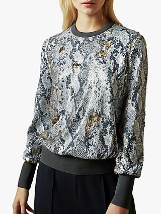 Ted Baker Millay Sequin Snake Print Sweatshirt, Light Grey