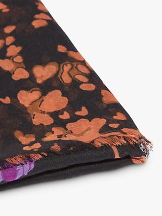 Oasis Floral Lightweight Scarf, Soft Orange