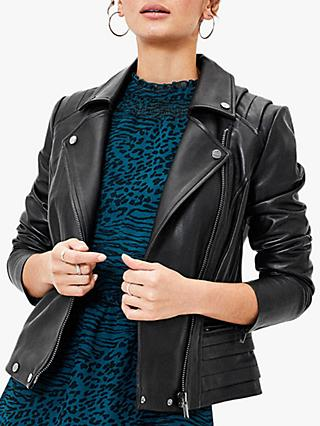 Oasis Leather Biker Jacket, Black