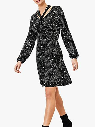 Oasis Star Print Pussy Bow Dress, Black/White