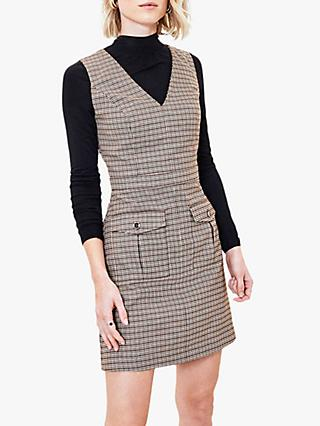 Oasis Micro Check Shift Dress, Dark Brown