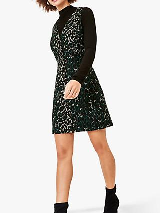Oasis Leopard Print Shift Dress, Deep Green