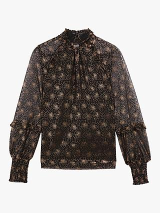 Oasis Foil Star Burst Blouse, Bronze